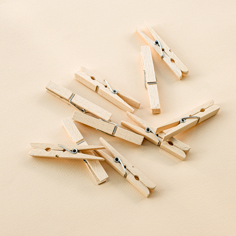 wooden clothes pin set