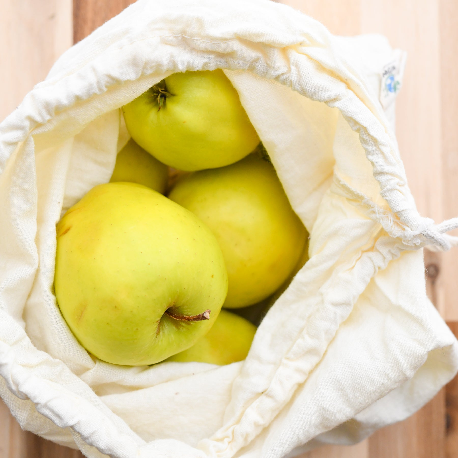 organic cotton produce bags in muslin