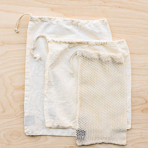 organic cotton product bags in mesh and muslin