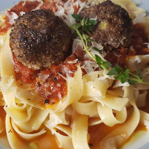 Julkitchen Fettucini Marinara with Beef Meat Ball