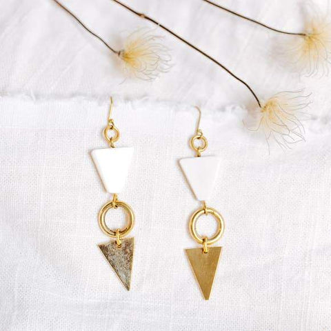 Tribe - Brass & Bone Statement Earrings