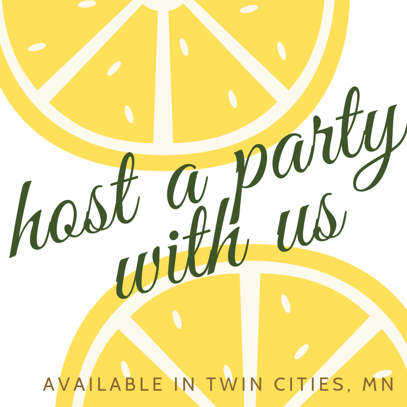 """host a party with us"" graphic"