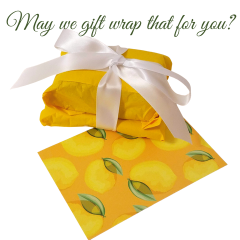 may we gift wrap that for you? yellow paper with white ribbon