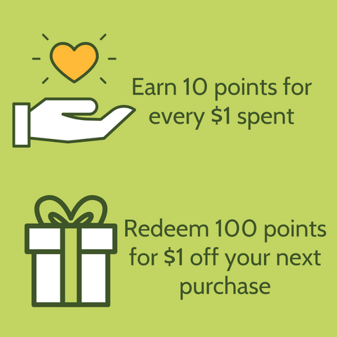 earn 10 points for every $1 spent. Redeem 100 points for $1 off your next purchase