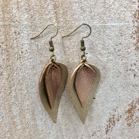 The Feuilles Double Leaf Leather Earrings - Silver & Rose Gold