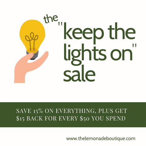 "the ""keep the lights on"" sale"