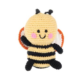 Friendly Bumble Bee Rattle - Crocheted Cotton Stuffed Animal