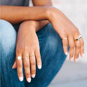 Lunar Circle Brass Stacking Rings