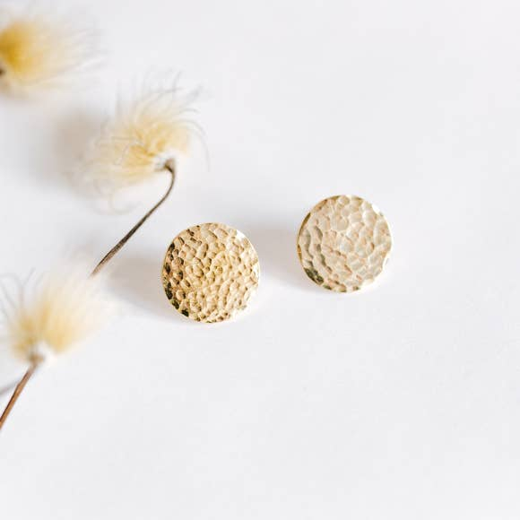 Hammered Brass Stud Earrings