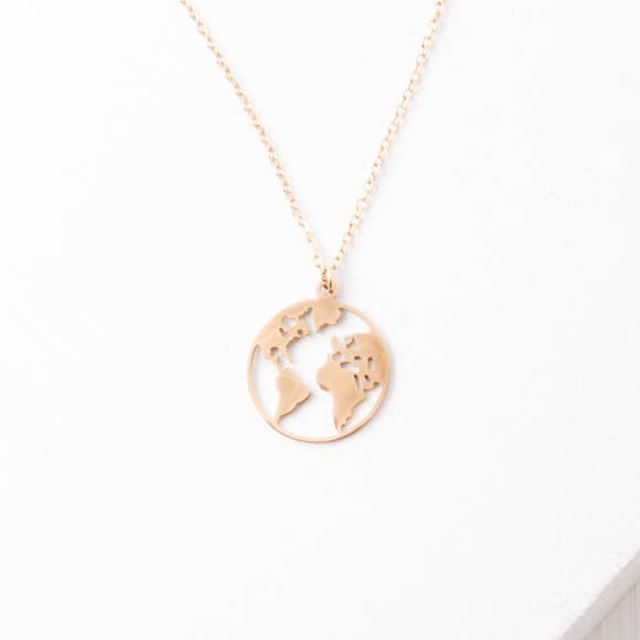 Gold World Pendant Necklace