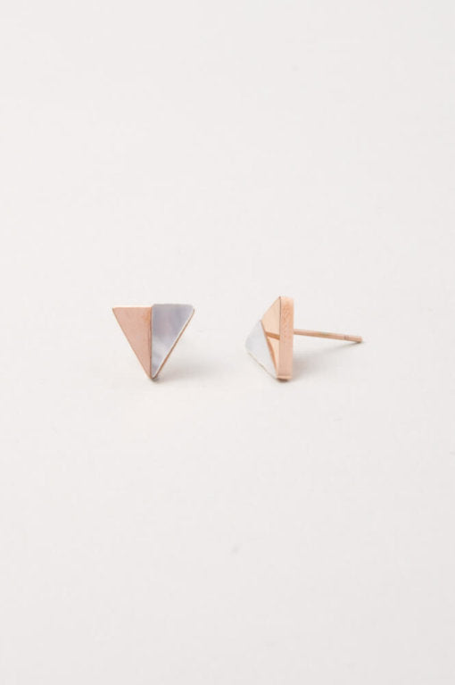 Lois Rose Gold & Shell Triangle Stud Earrings