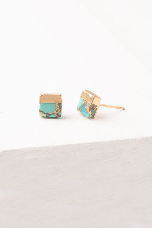 Lorena Gold Dipped Square Stud Earrings