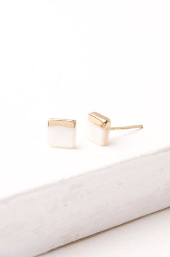 Kelly Mother of Pearl Gold Dipped White Square Stud Earrings