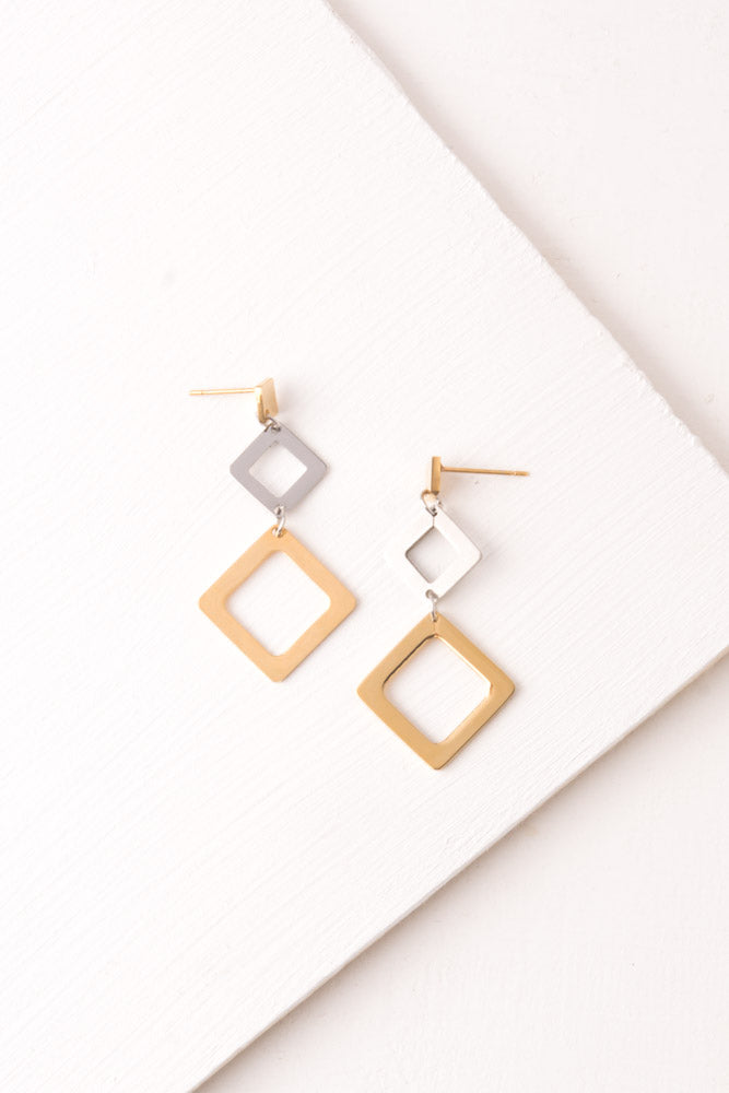Erika Triangle Gold & Silver Dangle Earrings