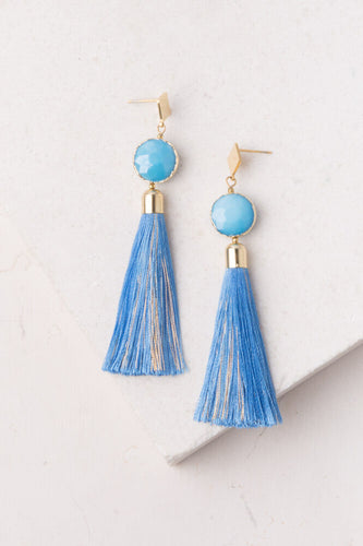 Cara Blue Tassel Earrings