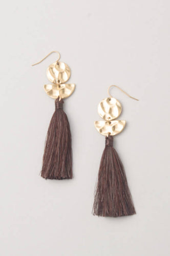 Roenne Chocolate & Gold Tassel Earrings