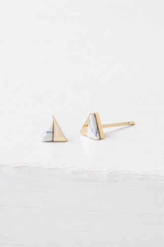 Cassia Gold & White Triangle Stud Earrings