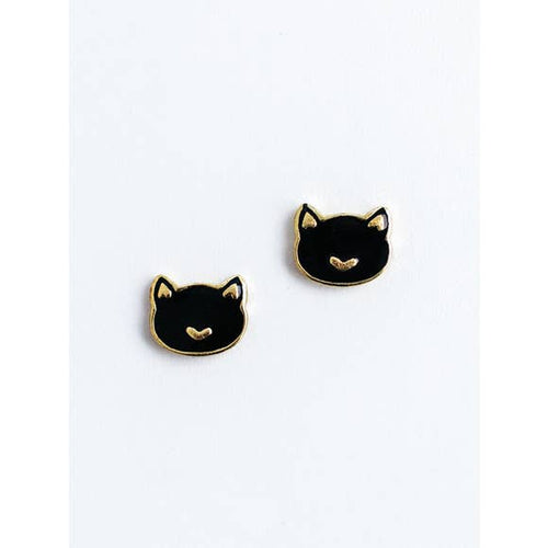 Kit Cat Black Cat Stud Earrings