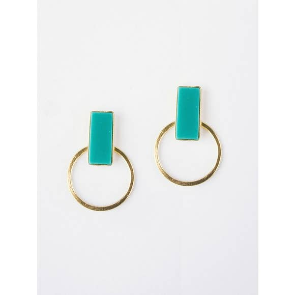Hadley Turquoise Hoop Stud Earrings