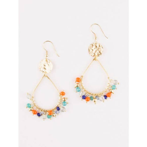 Confetti Multi-color Hoop Teardrop Earrings