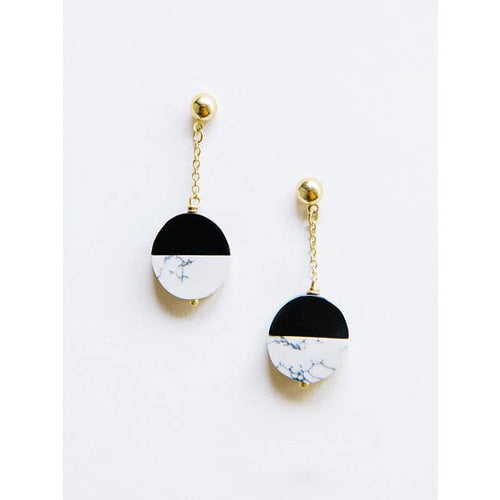 Nova Black & White Dangle Earrings