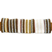 Load image into Gallery viewer, Beaded Leather Cuff Bracelet in Neutrals - Various Sizes
