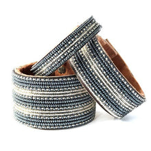 Load image into Gallery viewer, Beaded Leather Cuff Bracelet in Slate - Various Sizes