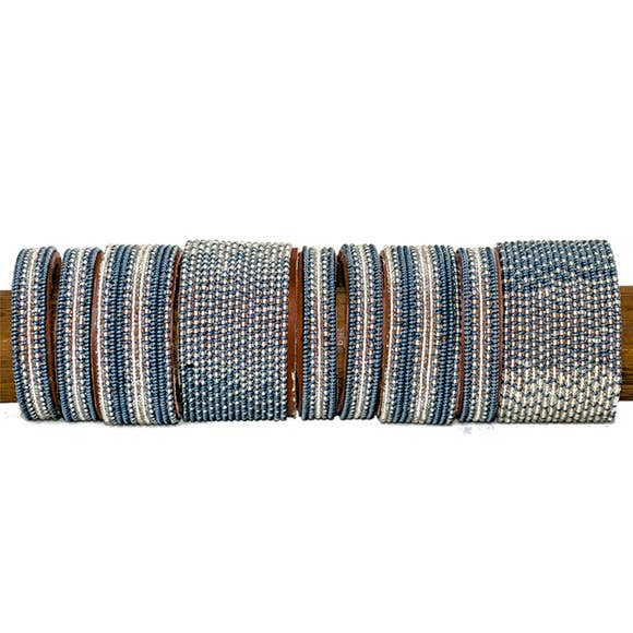 Beaded Leather Cuff Bracelet in Slate - Various Sizes