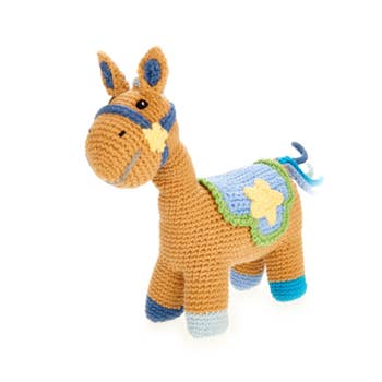 Blue Horse Rattle - Crocheted Cotton Stuffed Animal