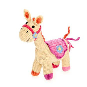 Pink Horse Rattle - Crocheted Cotton Stuffed Animal