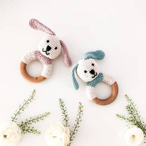 Organic Wooden Teething Ring Bunny - Crocheted Organic Cotton Stuffed Animal
