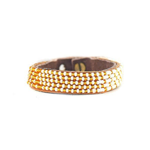 Beaded Leather Cuff Bracelet in Gold - Various Sizes