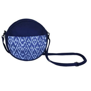 Round Ikat Crossbody Bag in Chambray