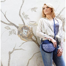 Load image into Gallery viewer, Round Ikat Crossbody Bag in Chambray