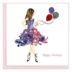 """Happy Birthday"" with Ballerina Quilling Greeting Card 