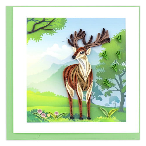Stag Quilling Greeting Card ||  Spring, Nature, All Occasion