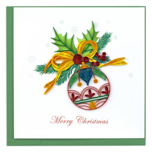 """Merry Christmas"" Ornament Quilling Greeting Card 
