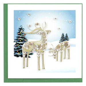 Snowy Reindeer Quilling Greeting Card || Holiday, Christmas, Winter