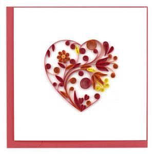 Floral Heart Quilling Greeting Card || Love, Anniversary, Valentine's Day
