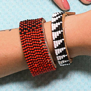 Beaded Leather Cuff Bracelet in Red & Black - Various Sizes