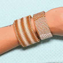 Load image into Gallery viewer, Beaded Leather Cuff Bracelet in Gold - Various Sizes