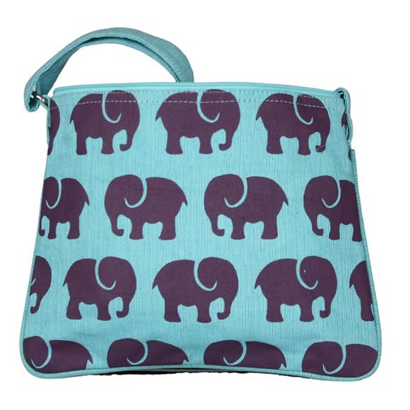 Little Purple Elephant Canvas Crossbody Bag in Blue