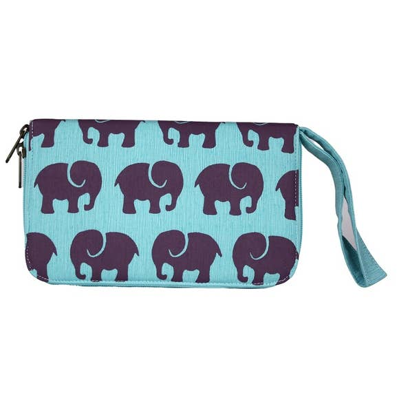 Large Elephant Canvas Travel Wallet & Wristlet