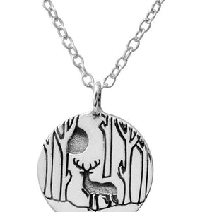 Sterling Silver Deer in the Woods Necklace