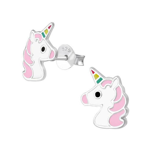 Girl's Unicorn Sterling Silver Micro Stud Earrings