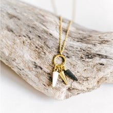 Load image into Gallery viewer, Lia Brass & Horn Teardrop Necklace