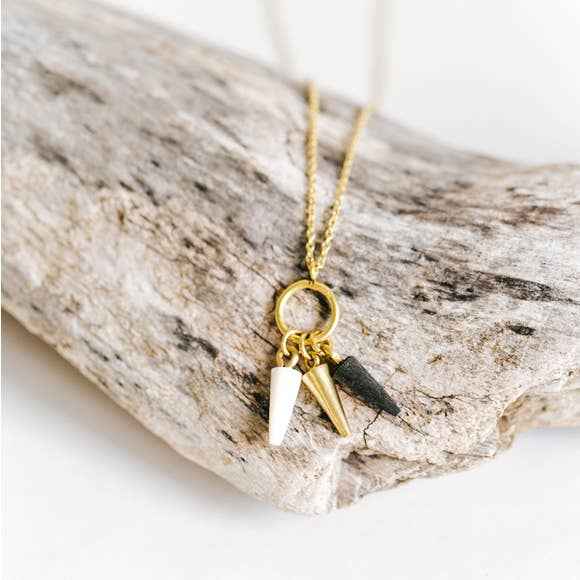 Lia Brass & Horn Teardrop Necklace