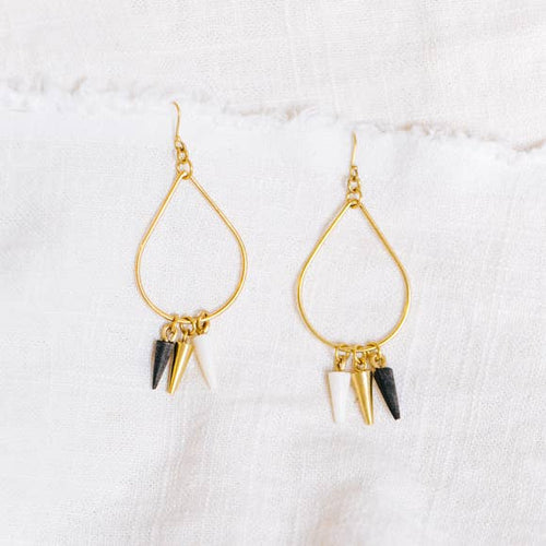 Lia Brass & Horn Teardrop Earrings