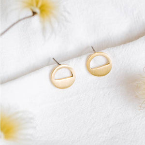 Eclipse Brass Stud Earrings