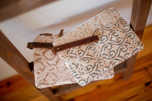 Load image into Gallery viewer, Marian Clutch in Peach & Gray - Upholstery Fabric & Leather Handle